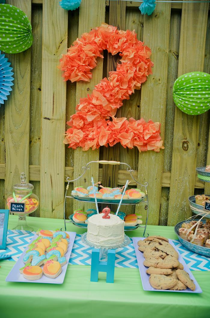 Two Years Old Birthday Party Ideas  Kara s Party Ideas Peach Stand 2nd Birthday Party with So