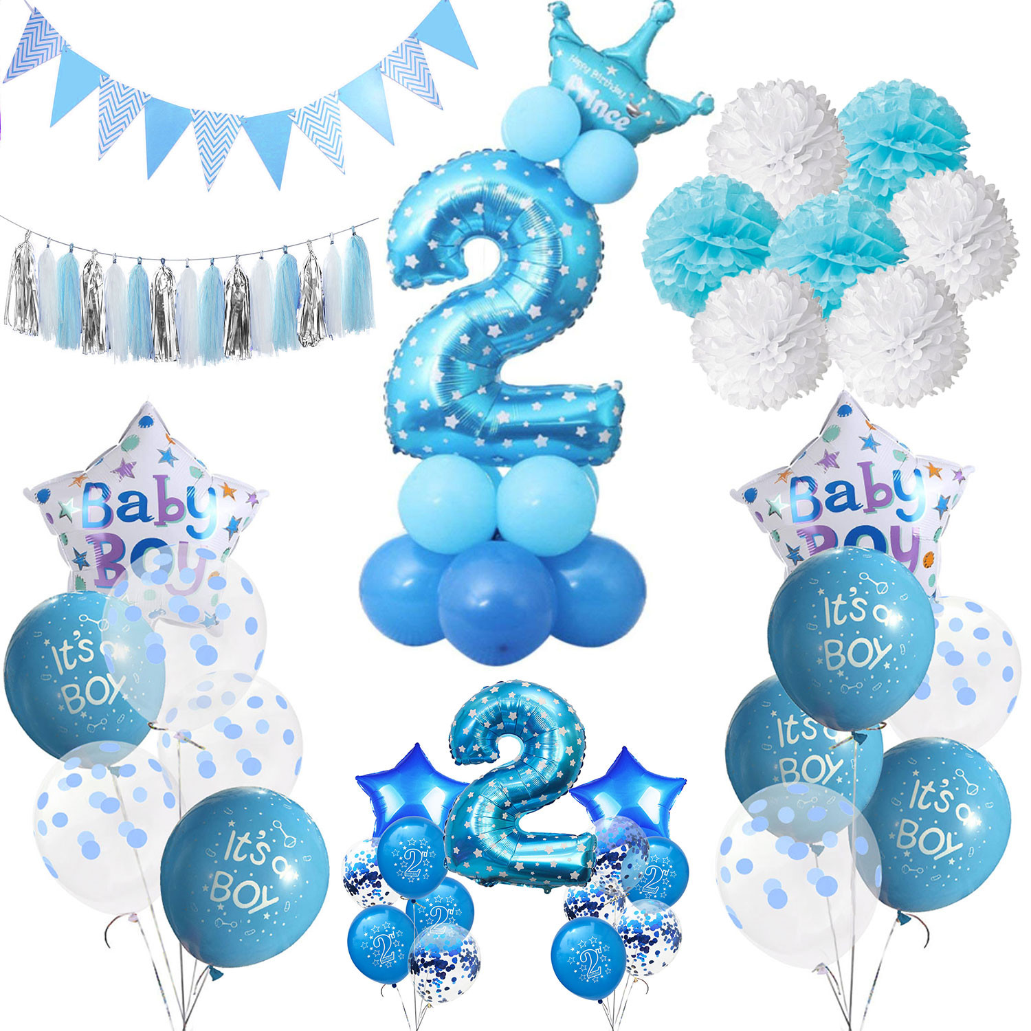 Two Years Old Birthday Party Ideas  ZLJQ Boy 2 Year Old Birthday Party Decor Foil Confetti