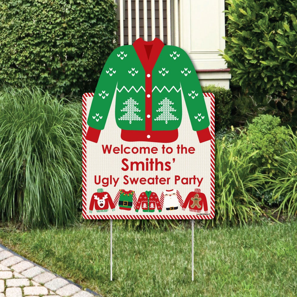 Ugly Christmas Sweater Party Decoration Ideas  Ugly Sweater Wel e Sign Christmas Party Outdoor Lawn