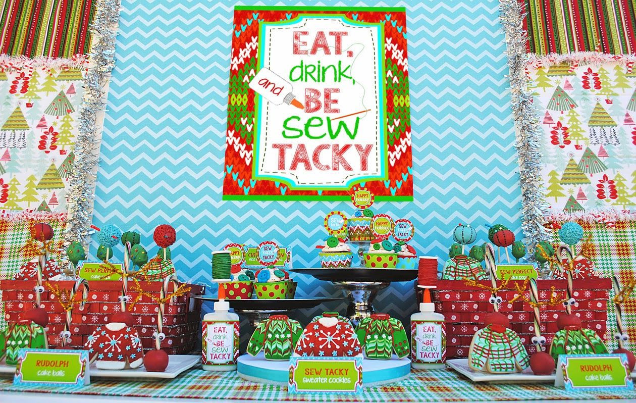 """Ugly Christmas Sweater Party Decoration Ideas  """"Let s Be Sew Tacky"""" Party"""