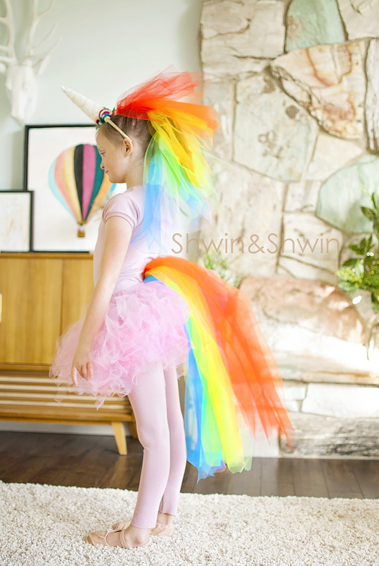 Unicorn Costume Child Diy  DIY Rainbow Unicorn Costume Shwin and Shwin
