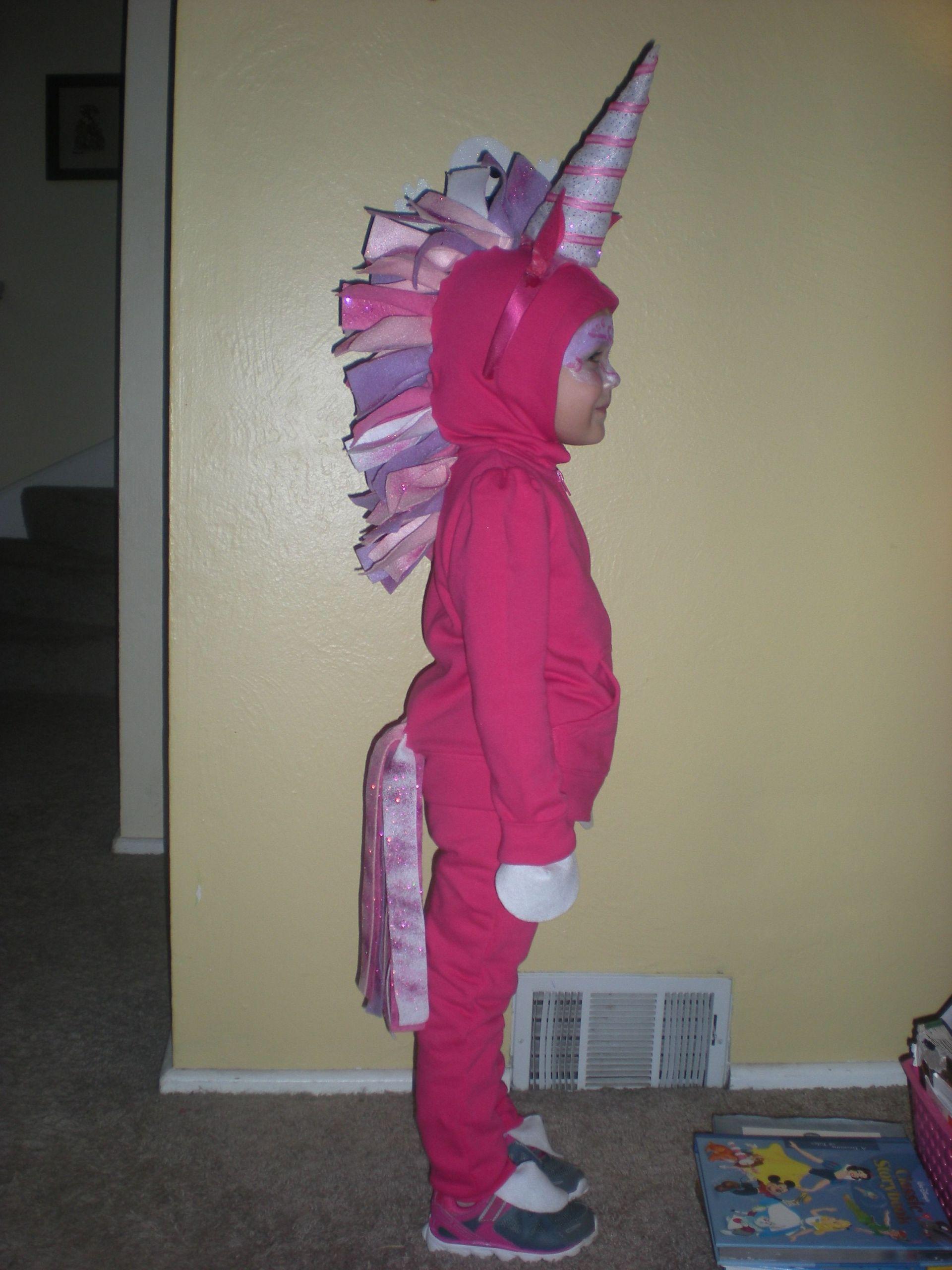 Unicorn Costume Child Diy  Homemade Unicorn costume No sew just pin and glue