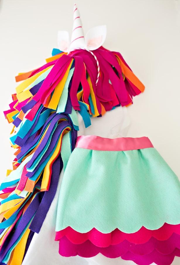 Unicorn Costume Child Diy  hello Wonderful DIY NO SEW FELT RAINBOW UNICORN COSTUME