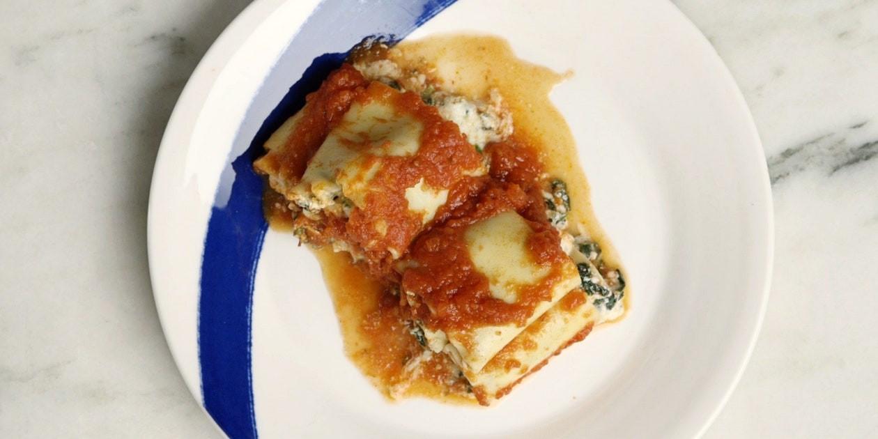Vegetarian Lasagna Epicurious  Slow Cooker Spinach Lasagna Rollups recipe