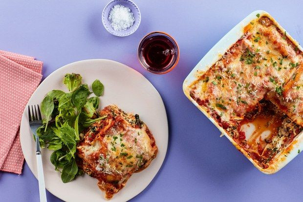 Vegetarian Lasagna Epicurious  Microwave Lasagna With Spinach Mushrooms and Three