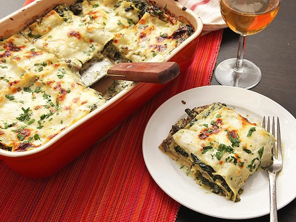 Vegetarian Lasagna Epicurious  Ultra Creamy Spinach and Mushroom Lasagna