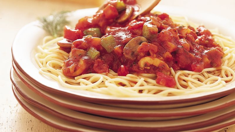 Vegetarian Sauces Recipes  Ve able Spaghetti Sauce Recipe BettyCrocker