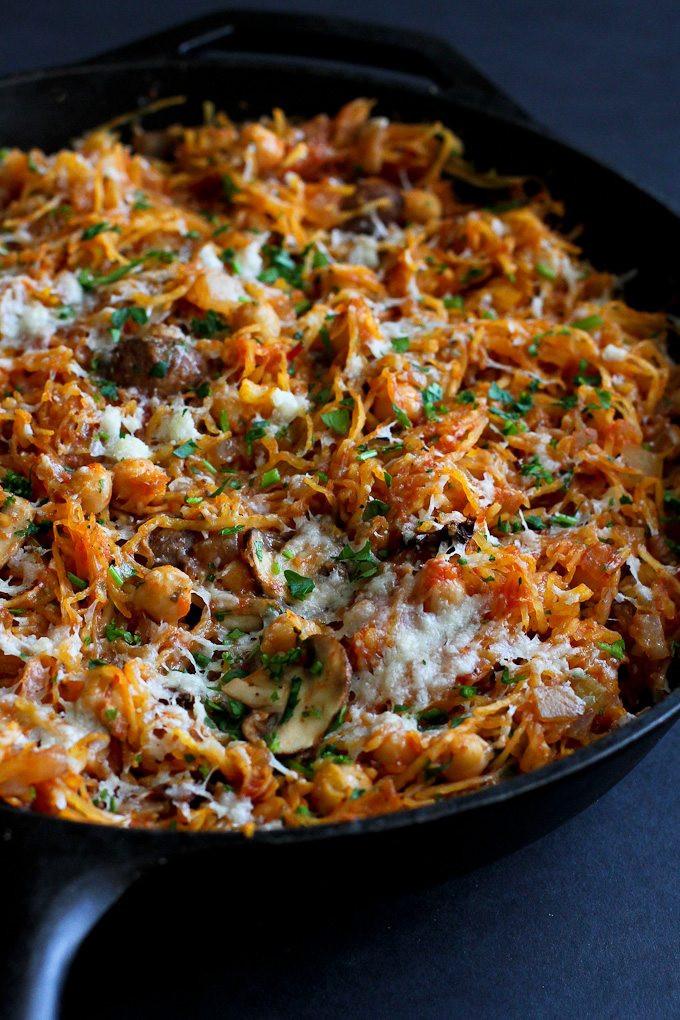 Vegetarian Sauces Recipes  Ve arian Spaghetti Squash Skillet Recipe Cookin Canuck