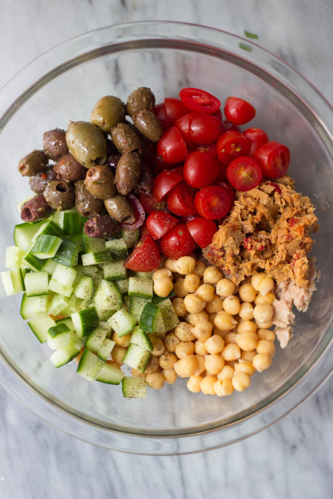 Vegetarian Tuna Recipes  Mediterranean Chickpea & Tuna Salad The Gourmet RD