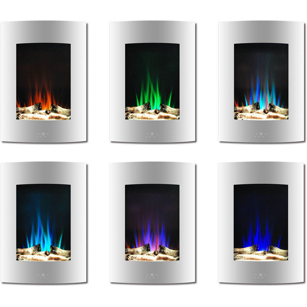 Vertical Wall Mount Electric Fireplace  19 5 In Vertical Electric Fireplace in White with Multi