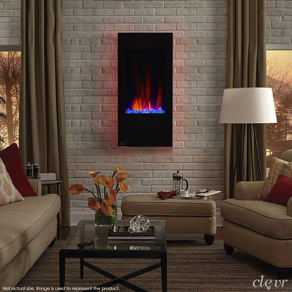 """Vertical Wall Mount Electric Fireplace  Clevr 32"""" Vertical Wall Mount Electric Fireplace Heater w"""