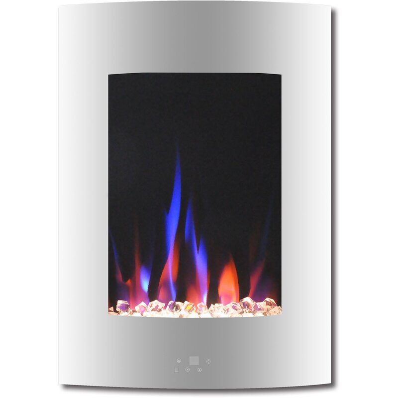 Vertical Wall Mount Electric Fireplace  Ebern Designs Betria Crystal Display Vertical Wall Mounted