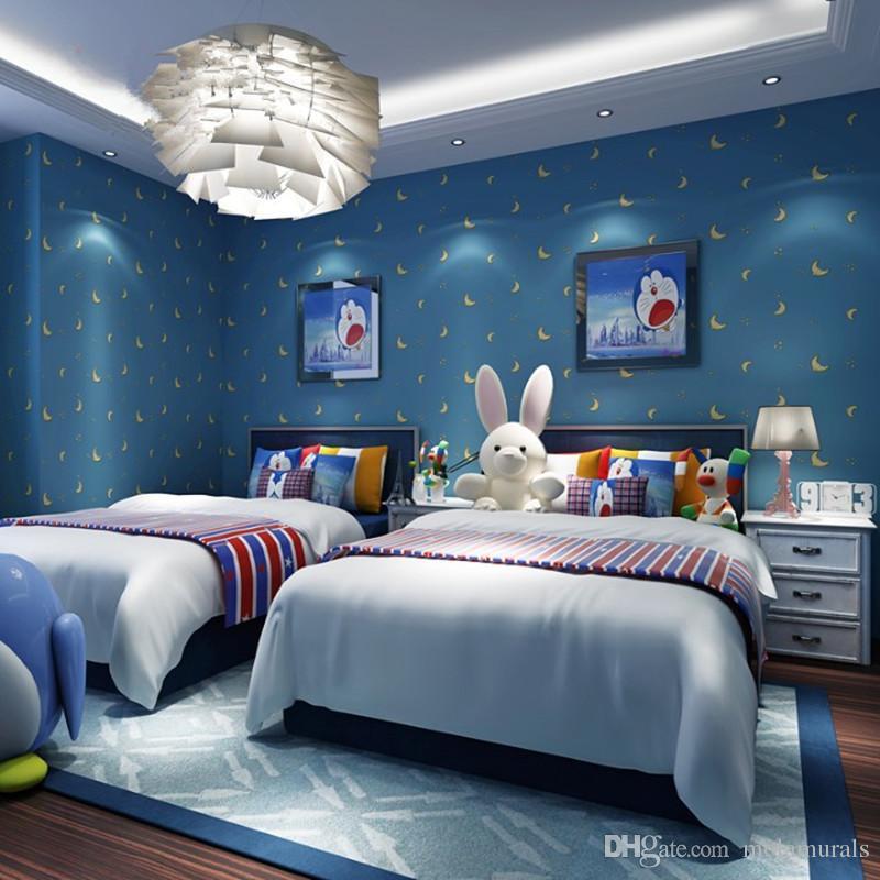 Wall Paper For Kids Room  Modern Kids Room Wallpaper Cartoon Star Moon Cute Stars