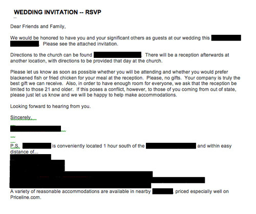 Wedding Email Invitations  Emailed or texted wedding invitations — what do you think