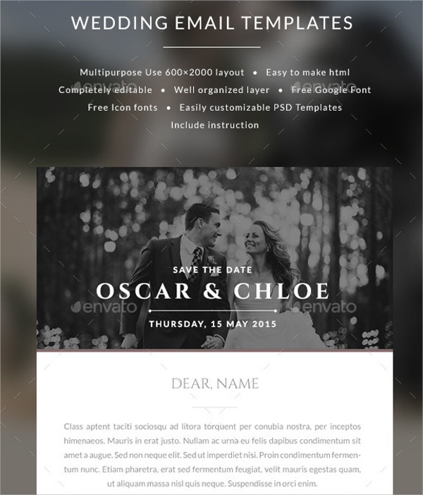 Wedding Email Invitations  FREE 9 Sample Email Invitation Templates in PSD
