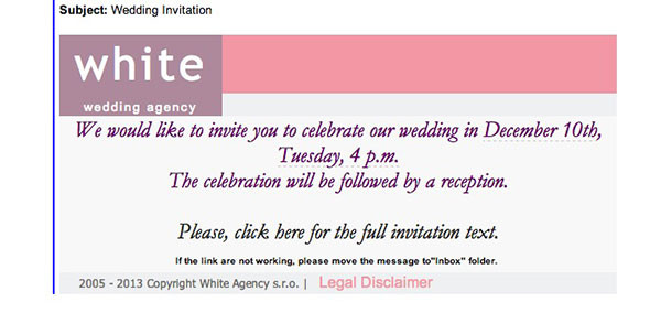 Wedding Email Invitations  Wedding Invitation Malware Emails