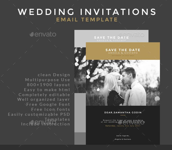 Wedding Email Invitations  30 Business Email Invitation Templates PSD Vector EPS