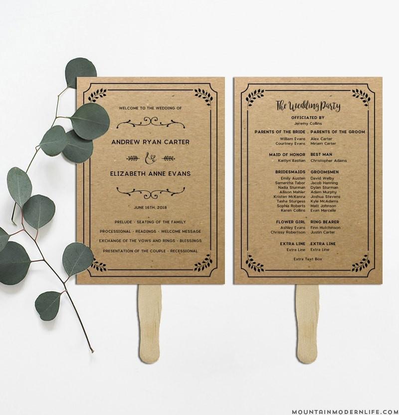 Wedding Fan DIY  Printable Rustic DIY Wedding Program Fan