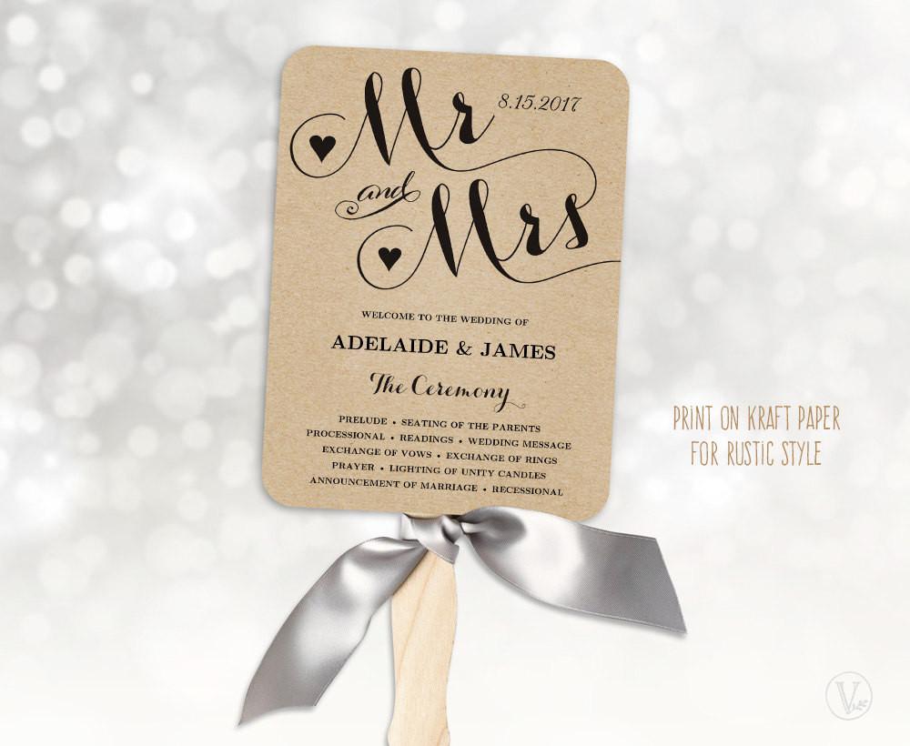 Wedding Fan DIY  Wedding Fans Printable Wedding Fan Program Template Fan