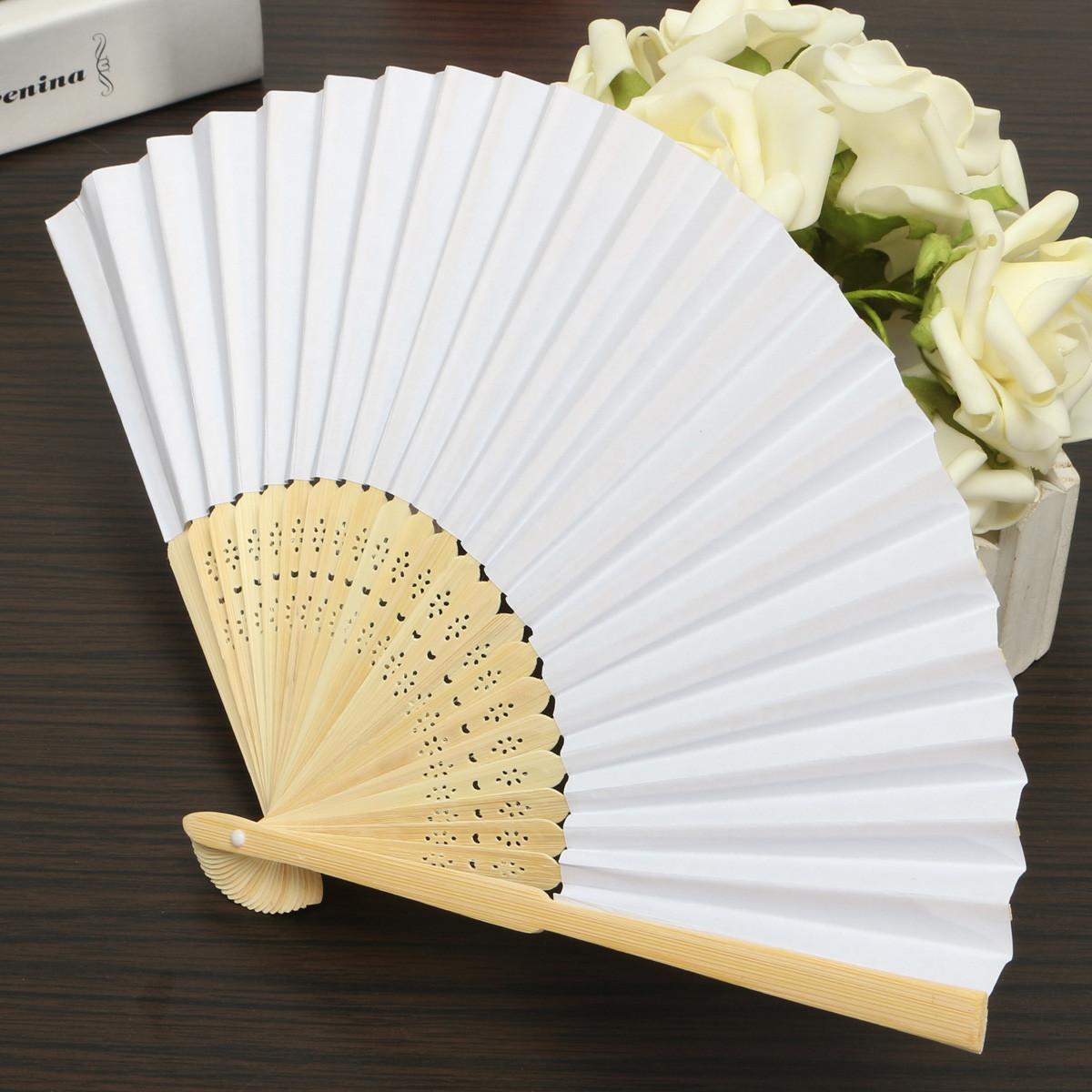 Wedding Fan DIY  5pcs Simple Blank DIY Paper Hand Folding Fan Wedding Party