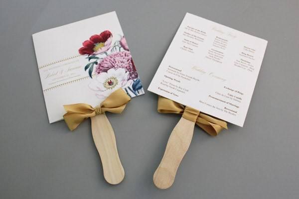 Wedding Fan DIY  DIY Pretty Blooms Wedding Program Paddle Fan