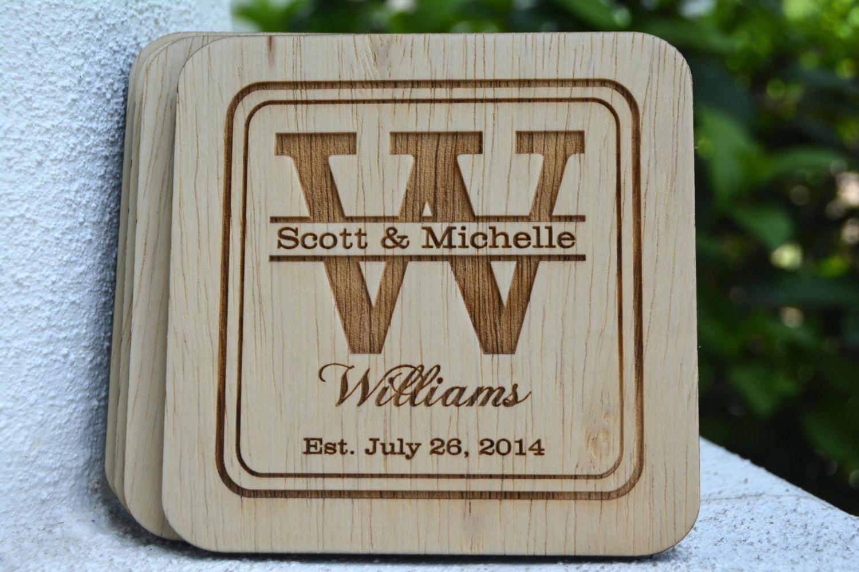 Wedding Favor Coasters  Personalized Coasters Wedding Favors Rustic Wedding