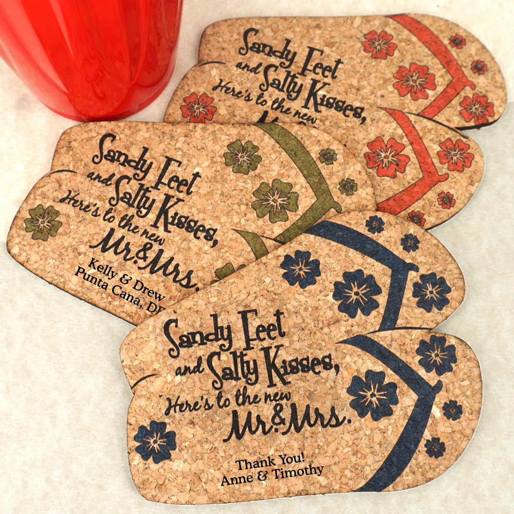 Wedding Favor Coasters  Wedding Favor Coasters Personalized Flip Flops Shaped Cork