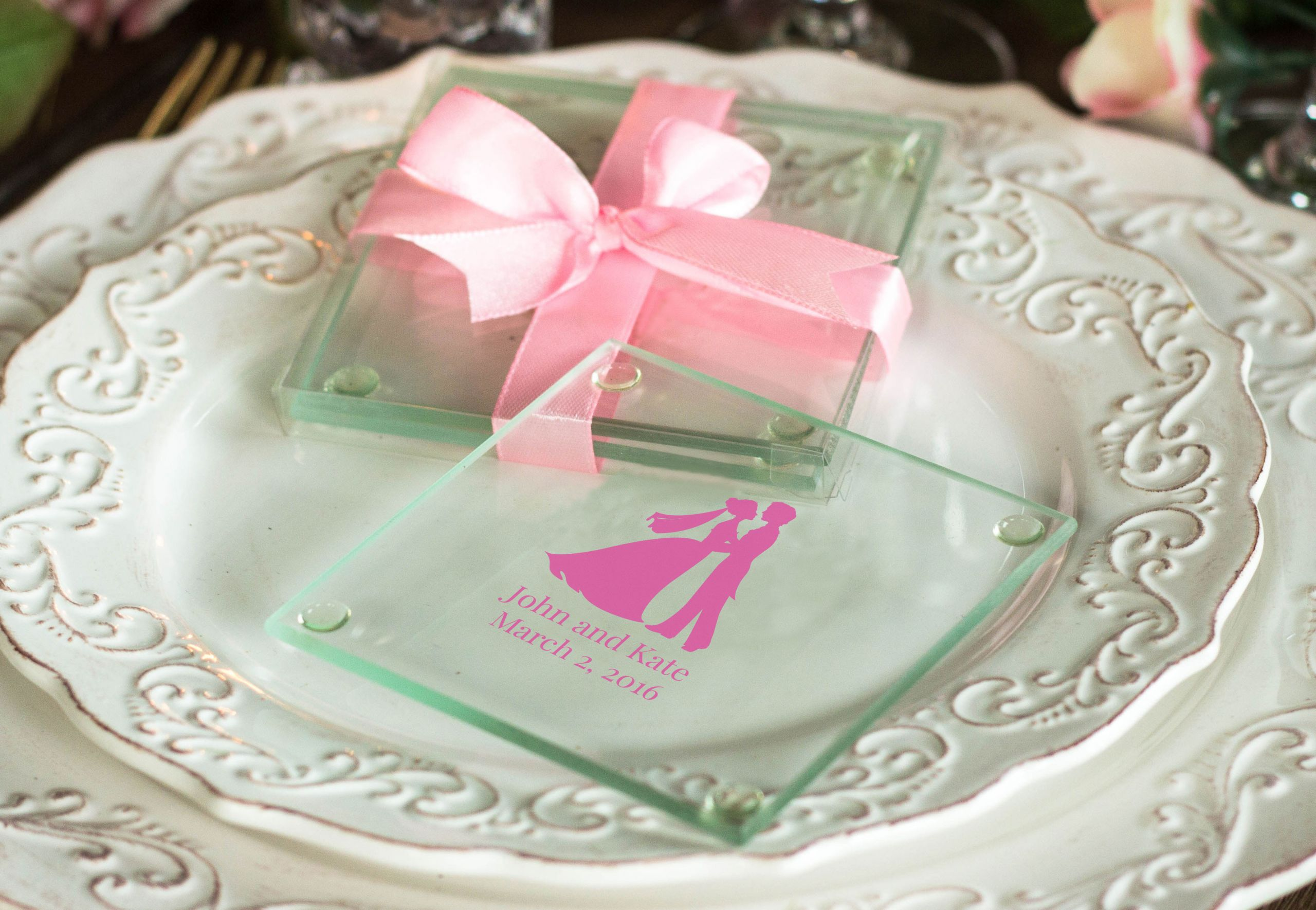 Wedding Favor Coasters  Personalized Glass Coasters