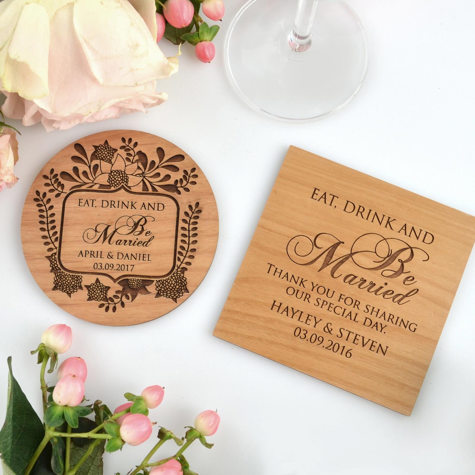 Wedding Favor Coasters  Engraved Wedding Wooden Coasters Bomboniere
