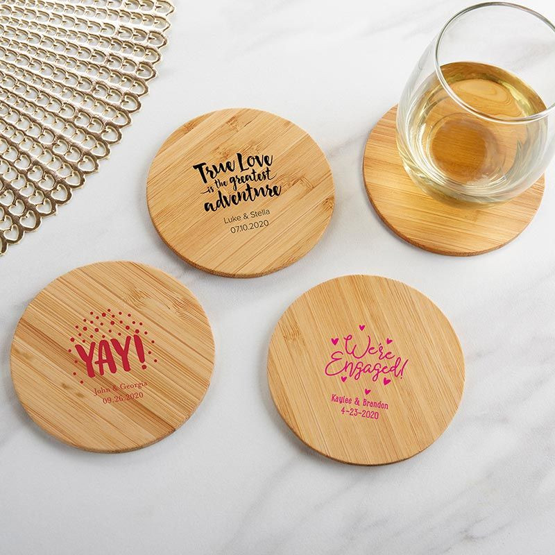 Wedding Favor Coasters  Personalized Wooden Coaster Wedding Favors