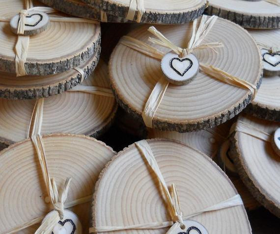 Wedding Favor Coasters  Rustic Wedding Favors Ash Coasters 50 Individually Wrapped
