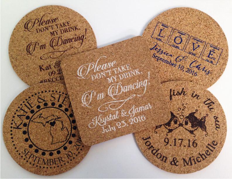 Wedding Favor Coasters  Wedding Favors Coasters 150 Wedding Favors Cork Drink Coasters
