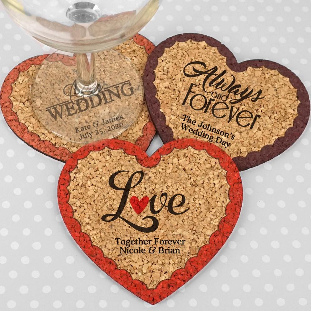 Wedding Favor Coasters  Personalized Heart Cork Coaster Wedding Favors