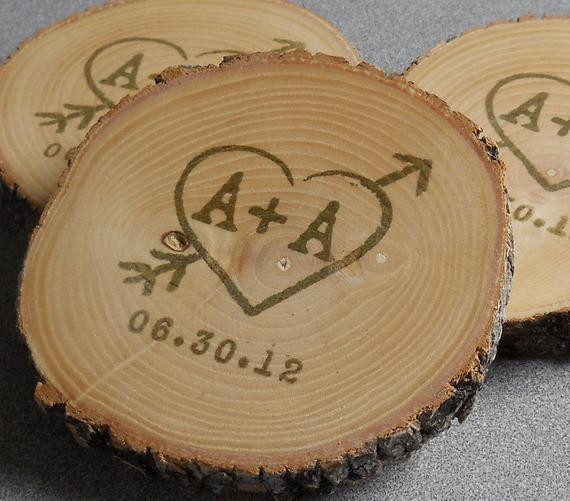 Wedding Favor Coasters  Personalized Rustic Wedding Favors Ash by mainebranch pany