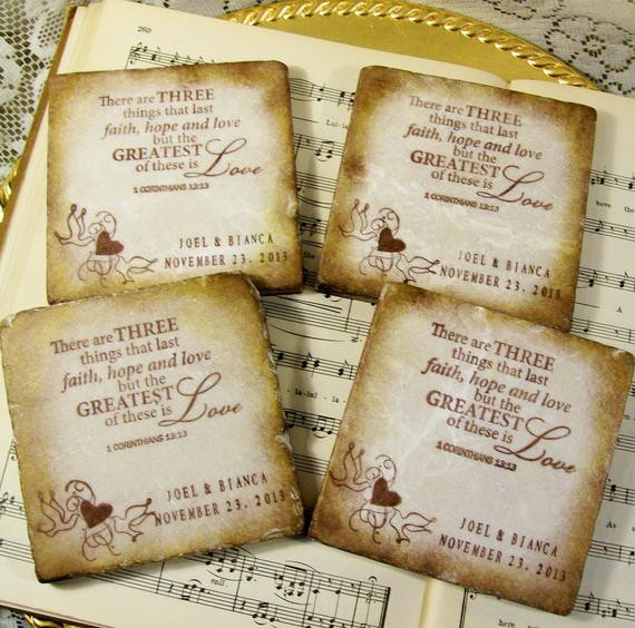Wedding Favor Coasters  Wedding Favors 25 Personalized Wedding Coasters by PrayerNotes