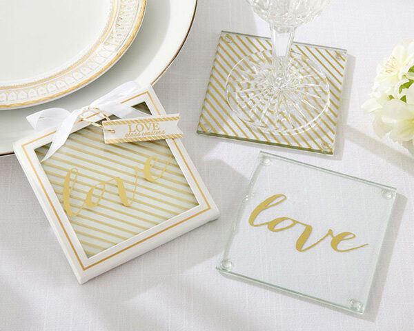 Wedding Favor Coasters  96 Gold Love Glass Coasters Engagement 50th Anniversary