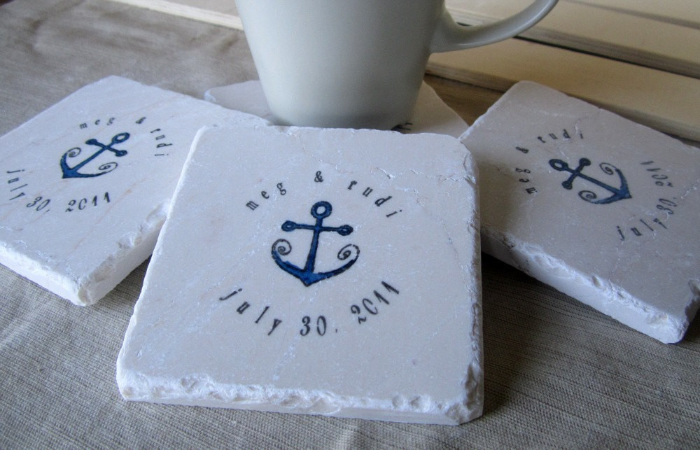 Wedding Favor Coasters  Anchor Wedding Favor Coasters Set of 20 by MyLittleChick
