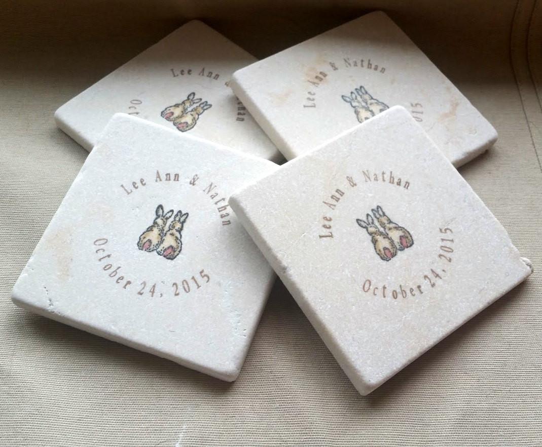 Wedding Favor Coasters  Personalized Love Bunny Wedding Favor Coasters Personalized