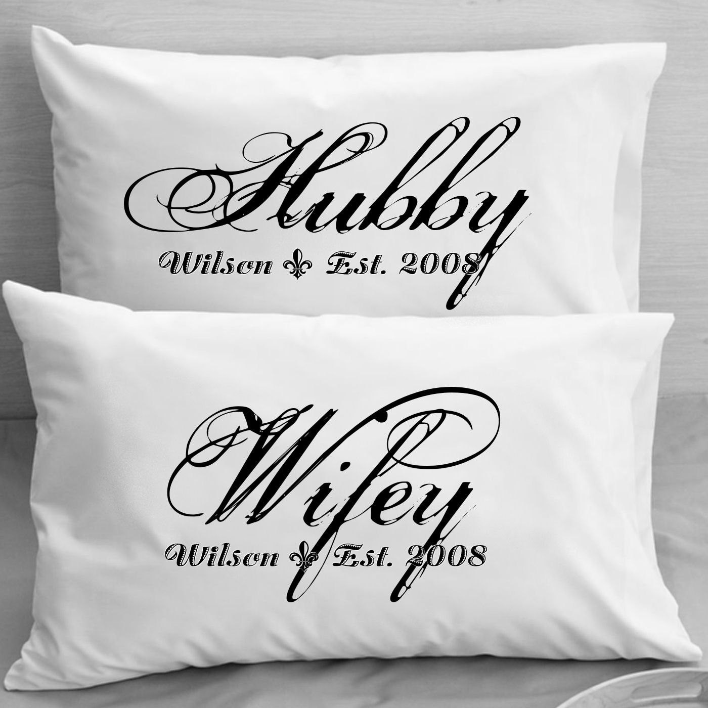 Wedding Gift Ideas For Middle Aged Couple  Couples Pillow Cases Custom Personalized Wifey Hubby Wife