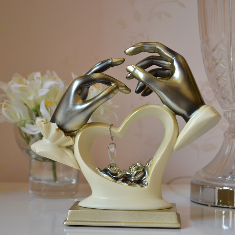 Wedding Gift Ideas For The Couple  Hold your hand couple decoration ornaments resin crafts