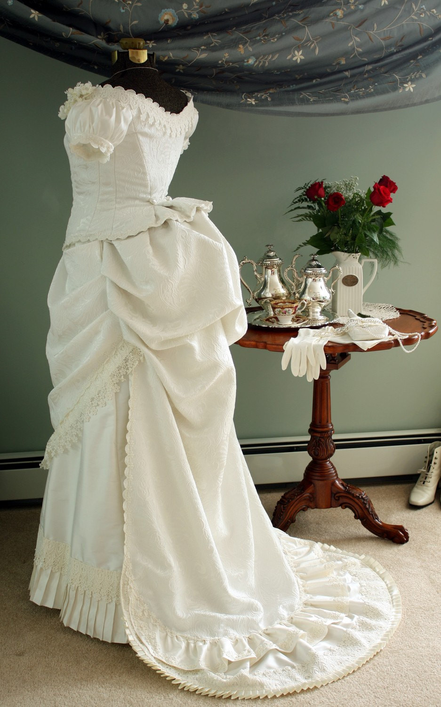 Wedding Gown Bustle  Ivory Victorian Wedding Bustle Dress Gown