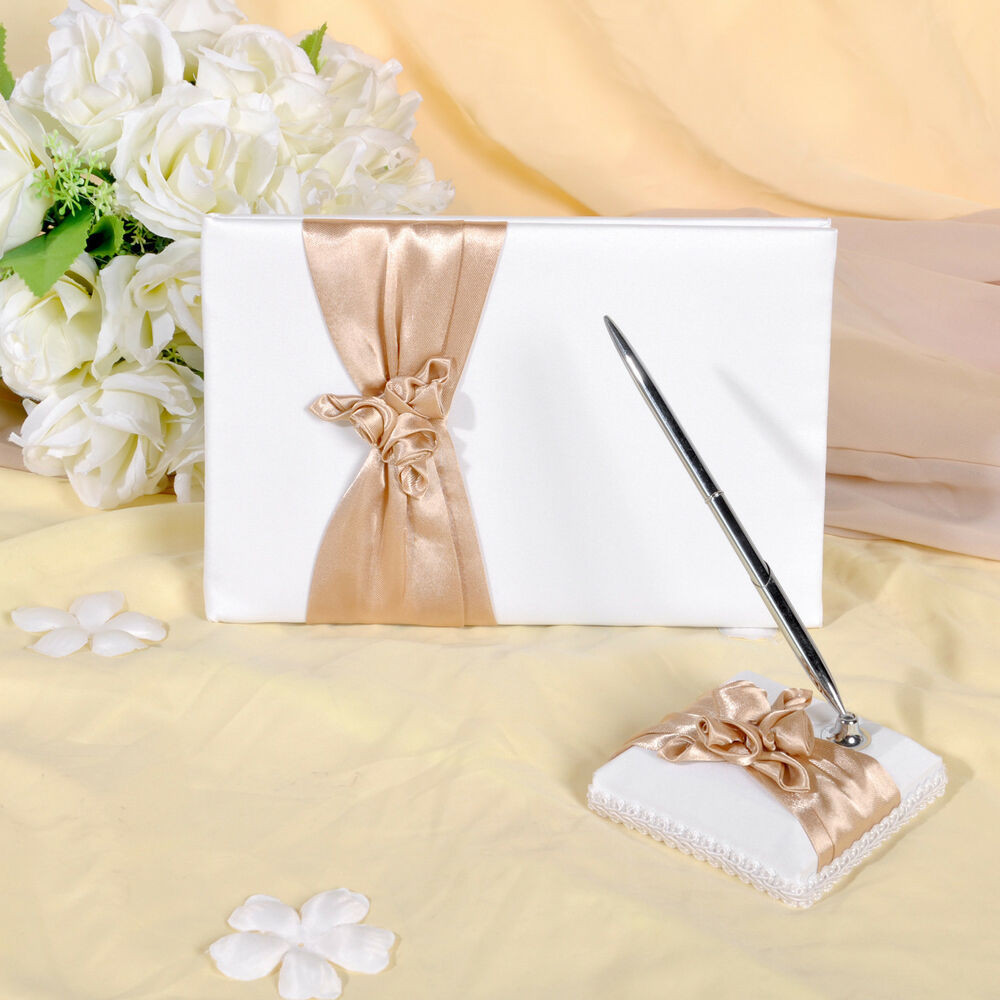 Wedding Guest Book Ivory  GB04 Ivory with champagne Wedding Guest Book & Pen Set
