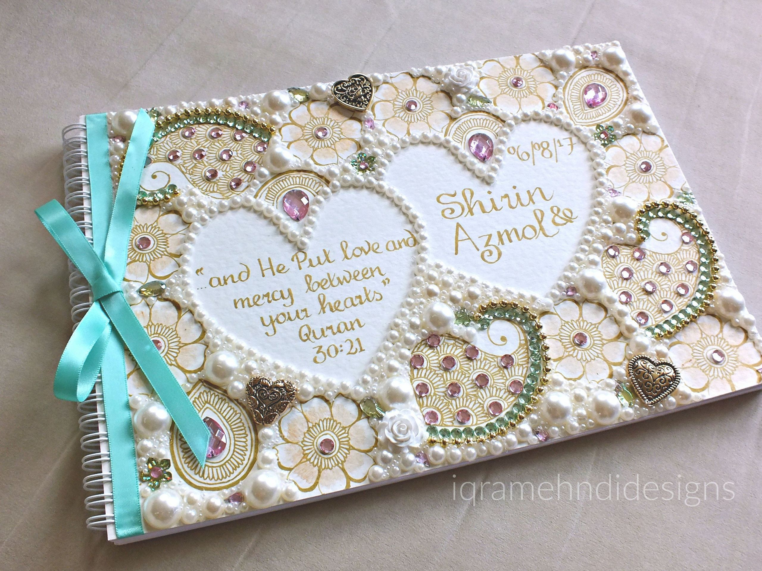 Wedding Guest Book Ivory  Personalised Indian Wedding Guest book Ivory Gold Pink