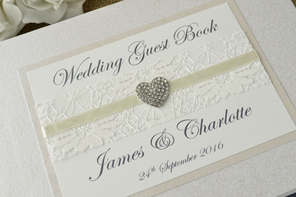 Wedding Guest Book Ivory  Ivory Personalised Wedding Guest Book Vintage Lace