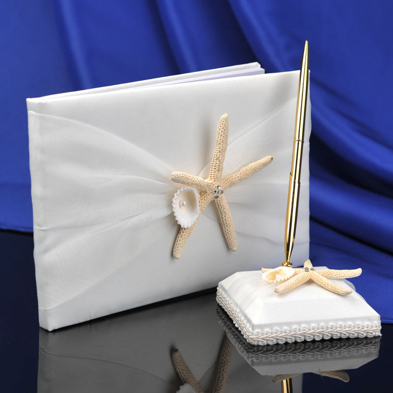 Wedding Guest Book Ivory  New Ivory Satin Beach Wedding Guest Book and Pen Set w