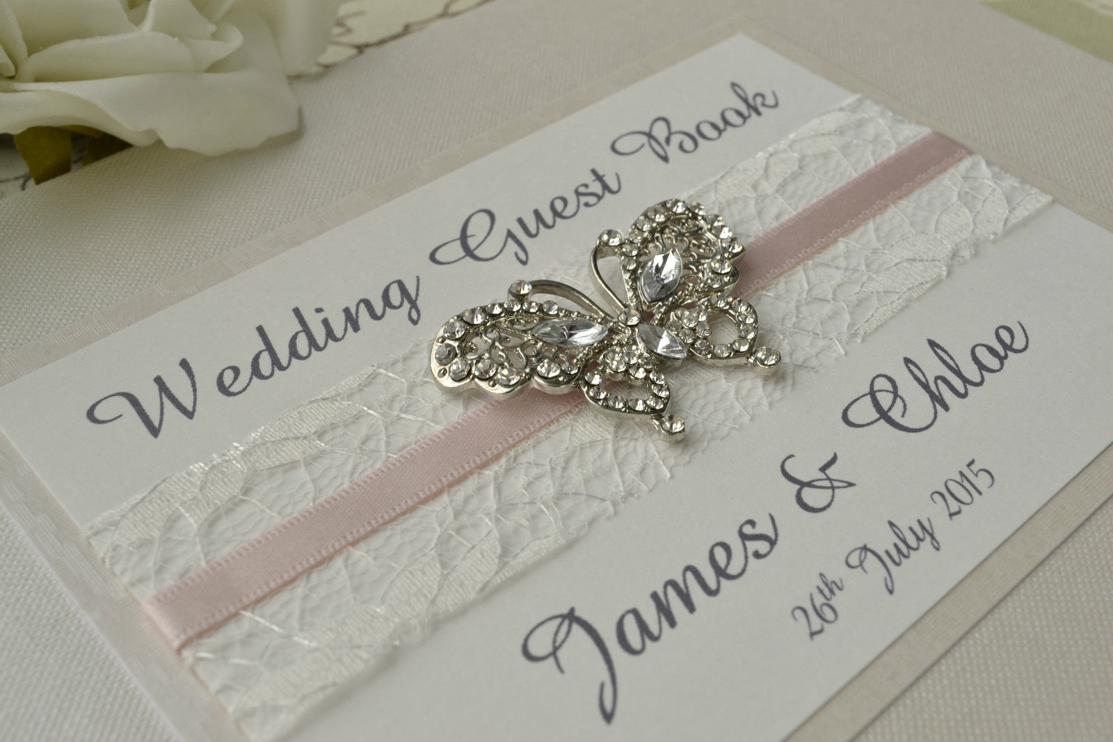 Wedding Guest Book Ivory  Diamante Butterfly Wedding Guest Book Luxury Pearlescent