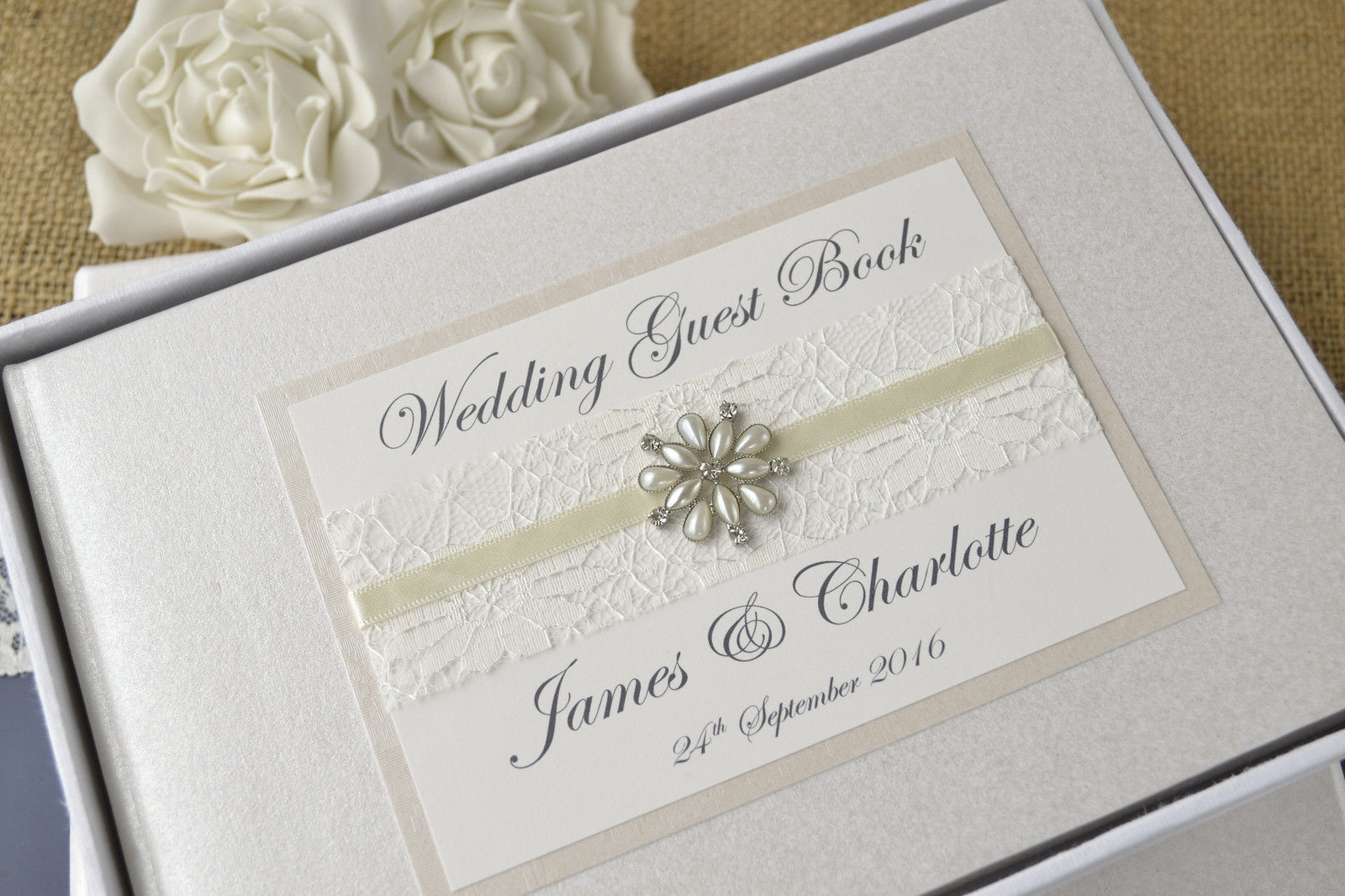 Wedding Guest Book Ivory  Elegant Ivory Personalised Wedding Guest Book ♥ Choice of