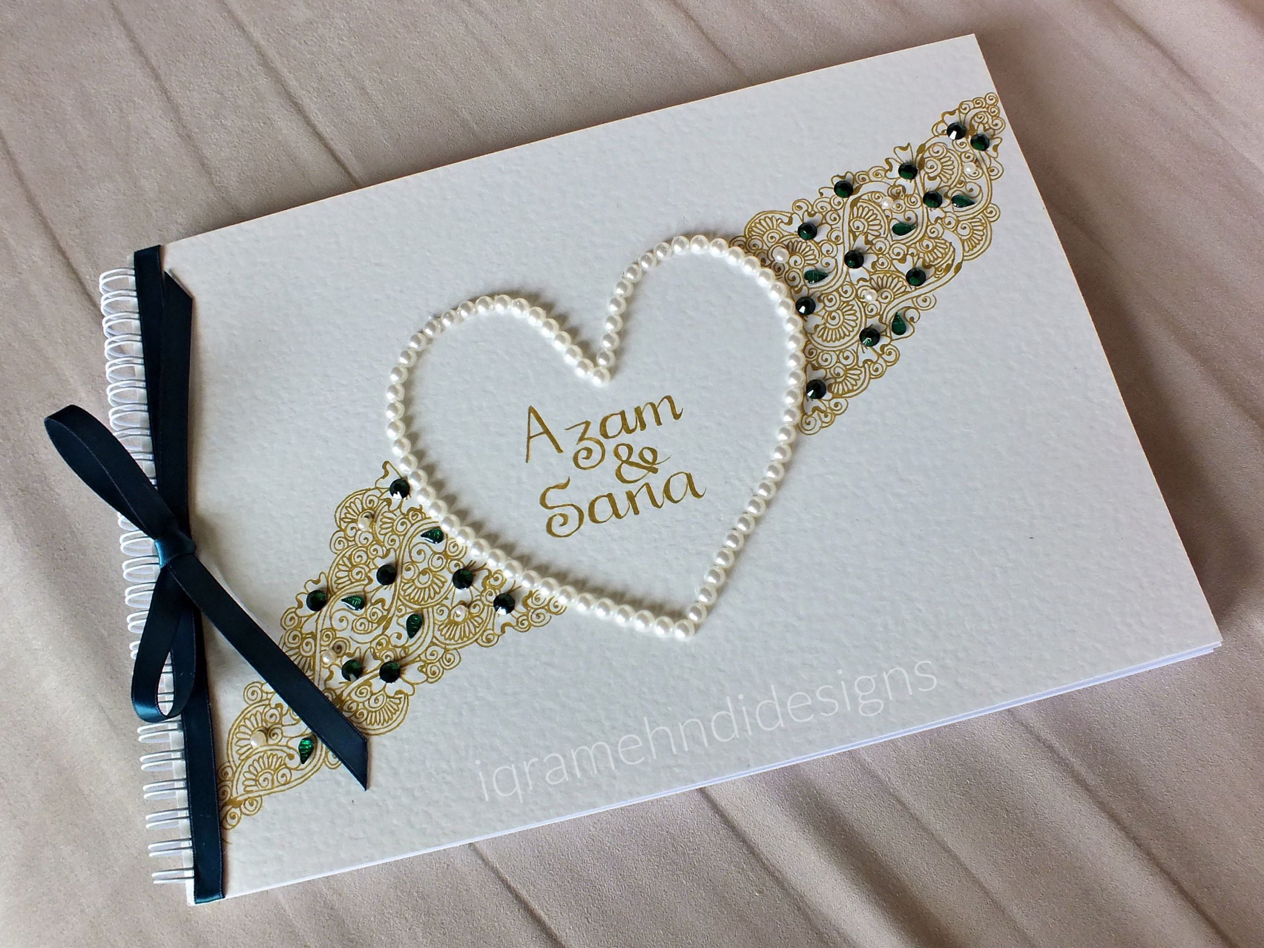Wedding Guest Book Ivory  Personalised Red Indian Wedding Guest book Ivory Gold
