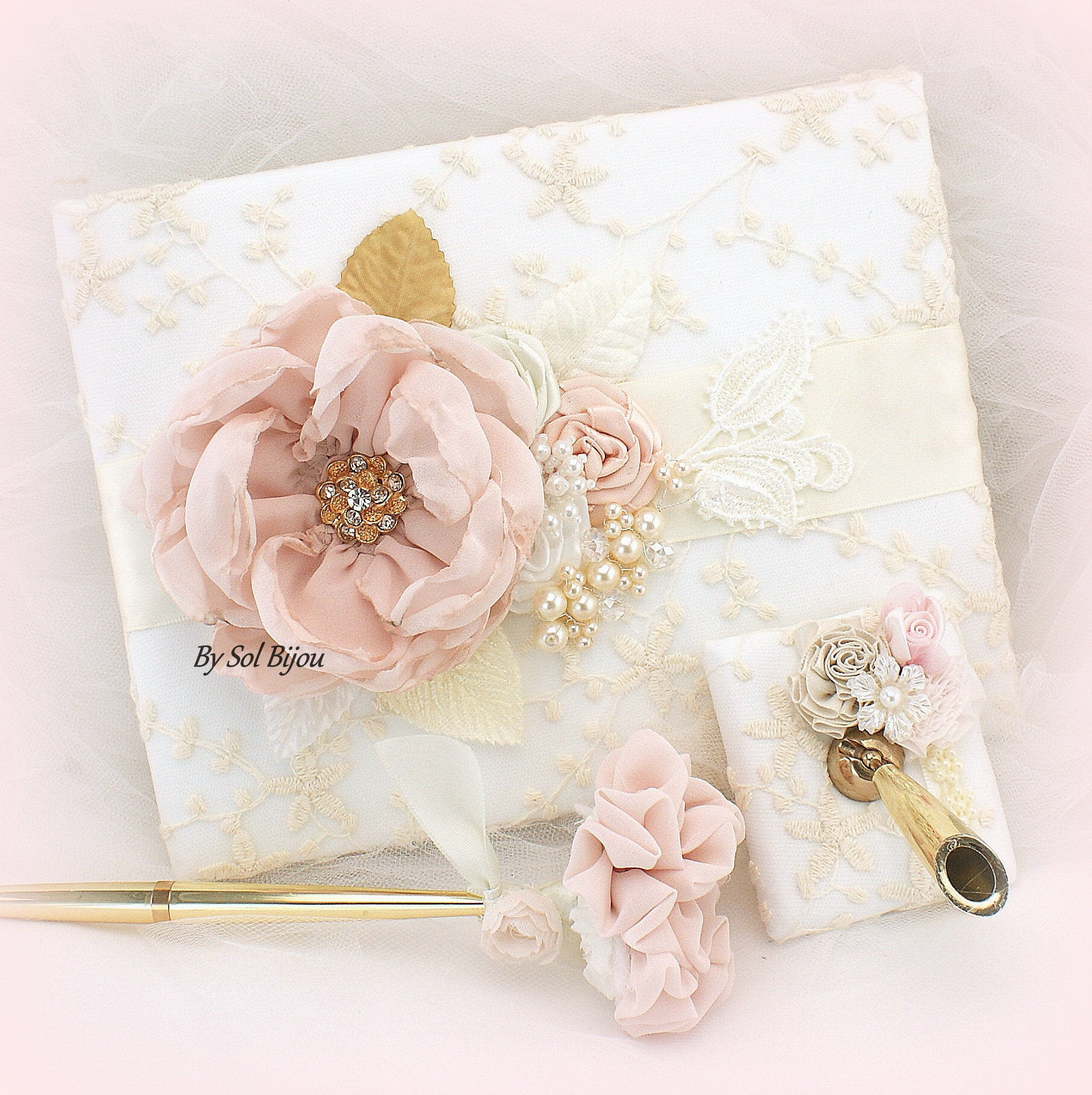 Wedding Guest Book Ivory  Wedding Guest Book Ivory Blush Pink Gold Lace Guestbook