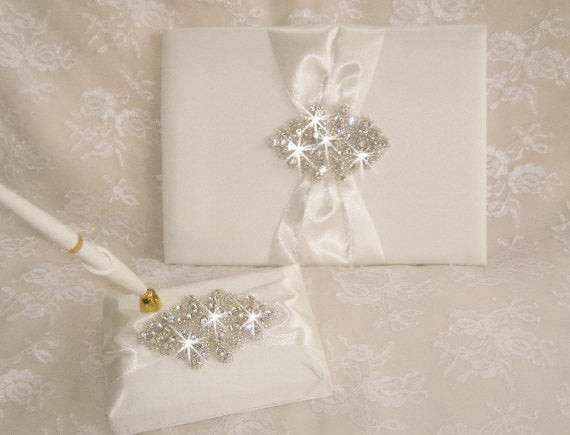 Wedding Guest Book Ivory  Ivory Wedding Guest Book Guestbook with Pen Set